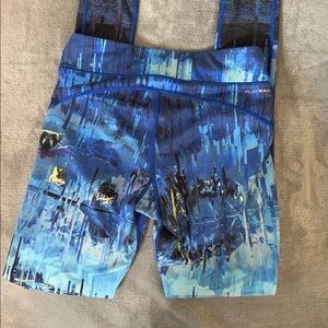 Reebok Blue Abstract Print Leggings Sz XS